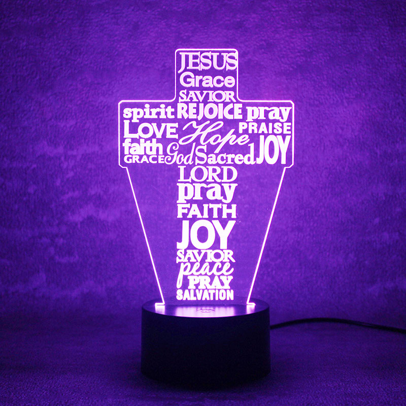 Luzes da Noite cruz letras 3d lâmpada usb Large Order : Contact us For More Discount