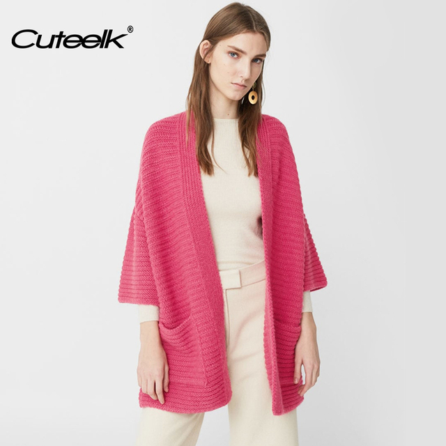 Cuteelk Womens Three Quarter Sleeve Solid Pink Short Sleeve ...