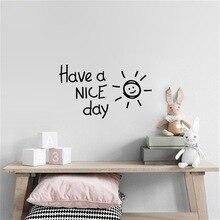 Adhesivos de vinilo para pared Con bonito sol para el día, decoración del hogar, sala de estar, dormitorio, adhesivos artísticos con alfabeto inglés, papel tapiz