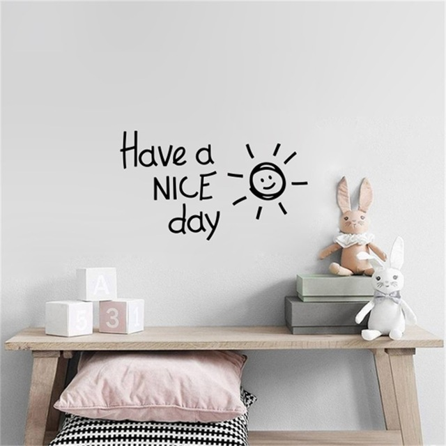 Tenha um BOM dia Lindo de sol vinil Adesivos de Parede quarto sala de estar Decoração de Casa Decalques Arte Inglês alfabeto Adesivos de parede papel de parede
