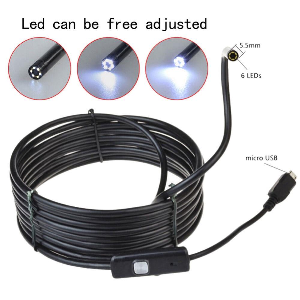 100% nuevo 5.5mm 6 LEDs USB portátil Android endoscopio IP67 Inspección impermeable con 2M Cable CD Driver Borescope Vedio cámara