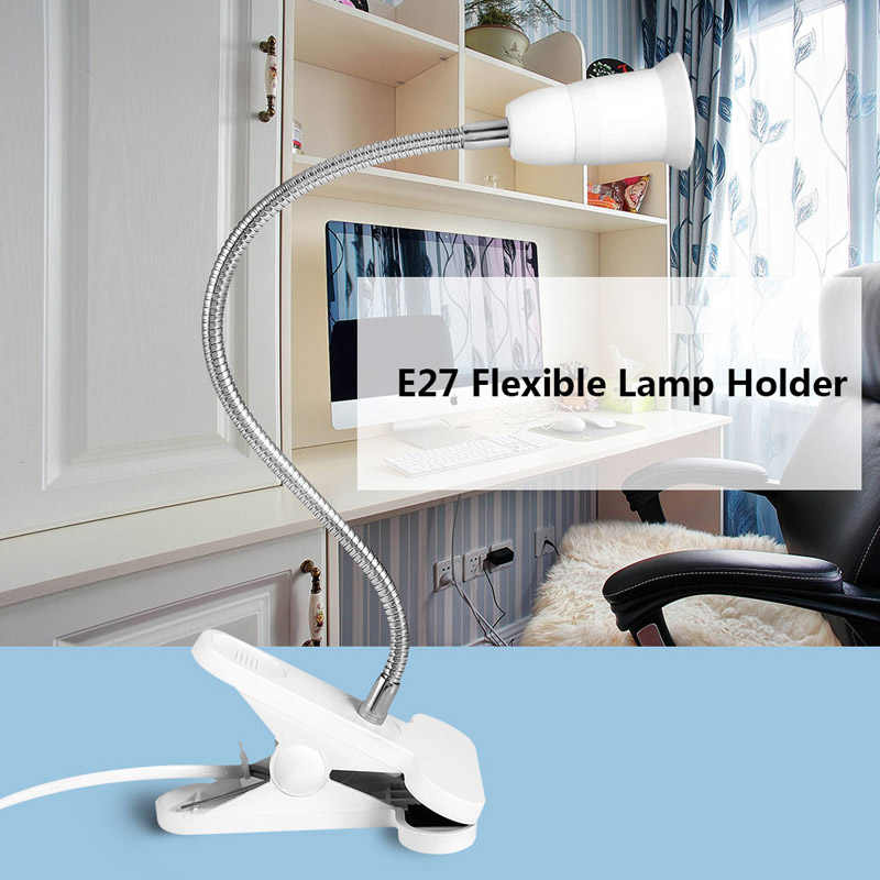 Flexible Wire Neck Desk Lamp Socker Clip Holder Switch for E27 400MM LO88