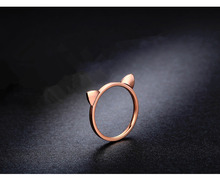 Cute Cat ears rose gold color ring for women girls,sweet high quality stainless steel lovers' rings bague anillos aneis anelli
