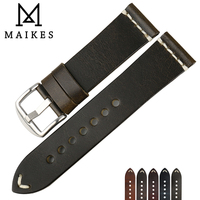 MAIKES Oil Wax Cow Leather Watch Band 22mm 24mm Thin Watch Strap Watch Accessries Vintage Bracelet