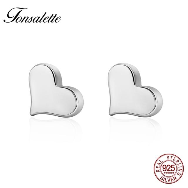 Hot Sale Genuine 925 Sterling Silver Tiny Heart Stud Earring Delicate Dainty Lov