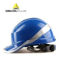 หมวกนิรภัยทำงาน ABS ป้องกันหมวกหมวกกันน็อก Phosphor Stripe ก่อสร้างฉนวนป้องกันหมวกกันน็อก