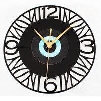 Music Lover Quartz Round Vintage Wall Clock Design CD Black Vinyl Record Clock Mural kitchen Watch for Home Décor