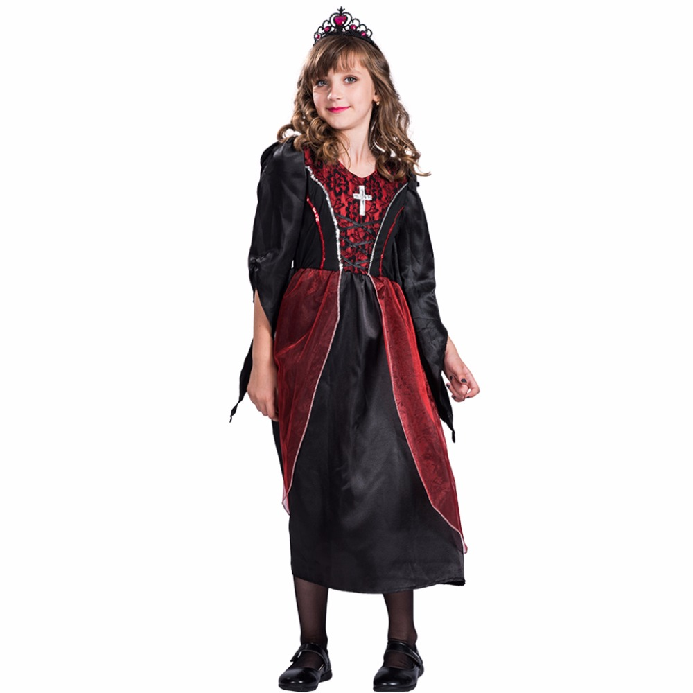 2017 New Arrival Gothic Vampiress Halloween Outfits Red Halloween Costumes For Kids Party Cosplay Girls Vampire Costumes