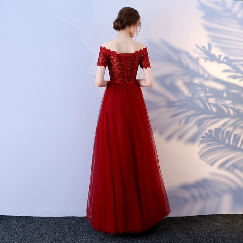 Fashion Crimson Evening Party Dresses Long 2018 Sexy Plus Size Formal Dress  Boat Neck Tulle Lace Beading Lace Up Evening Gowns-in Evening Dresses from  ... 86590fb5e68c