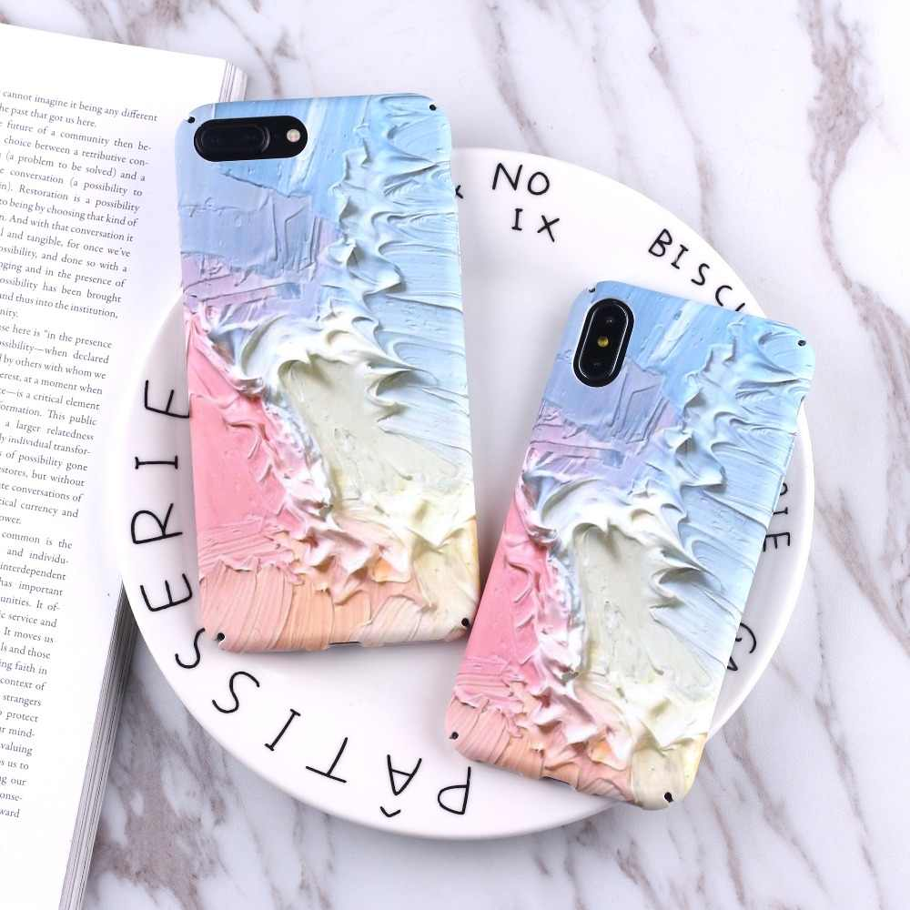 TOMOCOMO Colorido Pintura Do Vintage Fosco Luminous Relevo Textura Hard Case Telefone PC Para iPhone 6 6 6S Plus 7 7Plus 8 8Plus