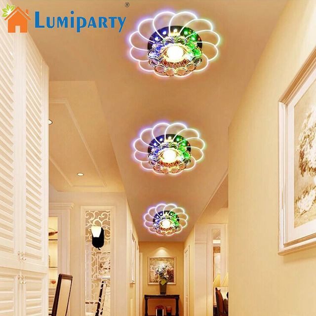 LumiParty Luxueux Lustre En Cristal LED Plafond Lampe Coloré