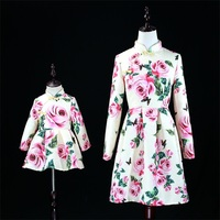 Autumn rose jacquard Women 3XL baby kids girls 1Y 16Y Chinese style cheongsam mother and daughter dress family matching outfits