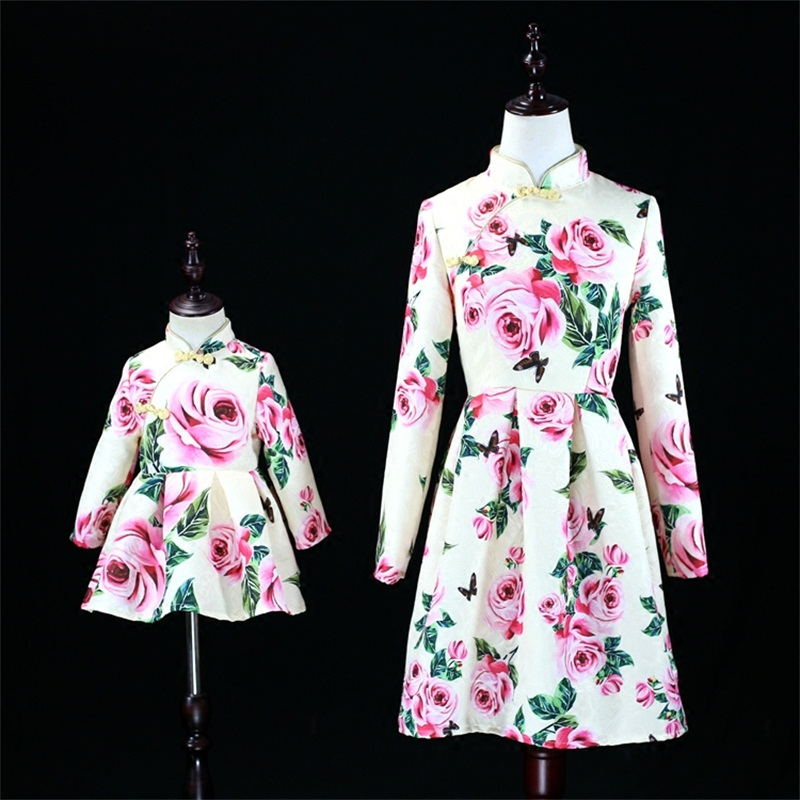 Autumn rose jacquard Women 3XL baby kids girls 1Y-16Y Chinese style cheongsam mother and daughter dress family matching outfits autumn jacquard rose print women 3xl baby kids girls 1y 16y fashion dress matching mother and daughter dress family look clothes