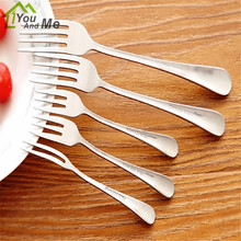 1 pcs Stainless Steel Fruit Fork for Restaurant Cafeteria Home Party Dessert Fork Cutlery Flatware for Cake and Salad