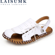 LAISUMK Brand Breathable Sandals Men Shoes Real Leather Sandals Shoes Men Sandals Non Slip Beach Summer Slippers Men Big Size