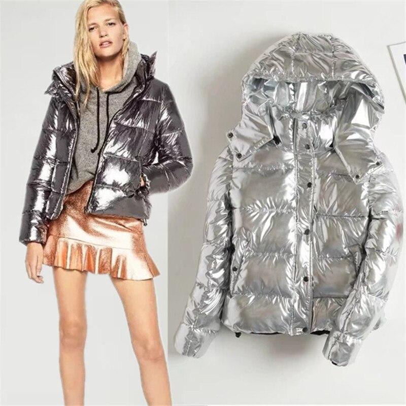 Winter Coat Women Down Jacket 2019 Fashion Silver Metal Female Parka Outwear Plus Size Warm Thick Cotton Padded bomber jacket