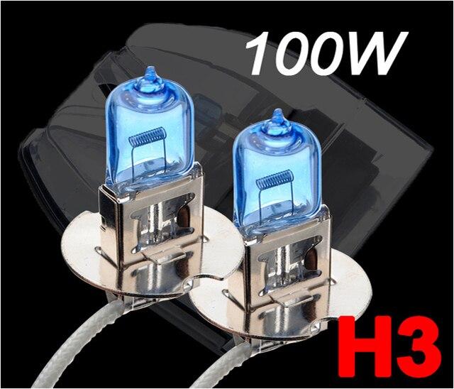 2X H3 100 Вт 12 В галогенная лампа супер ксеноновые Белый Туман огни высокой Мощность фар автомобиля лампа источник света автомобиля 6000 К парковка