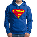 New Superman Hoodie Black Blue Hooded Pullover Men Casual Autumn / Winter Warm Sweatshirts Men's Casual Tracksuit  Costume