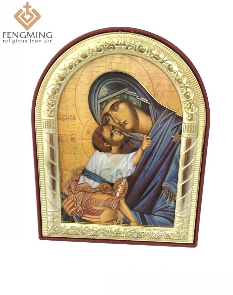 ⓪Puede personalizado metal plata oro en el marco de plástico Virgen ...