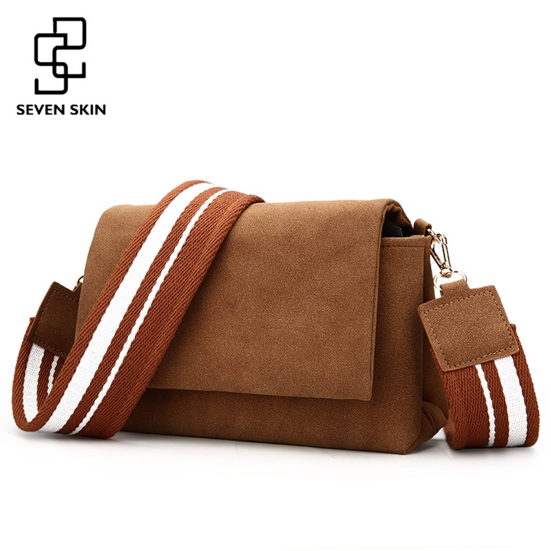 SEVEN SKIN Brand High Quality Women Messenger Bags Solid Leather Womens Small Bag Wide Strap Lady Scrub Shoulder Crossbody Bag