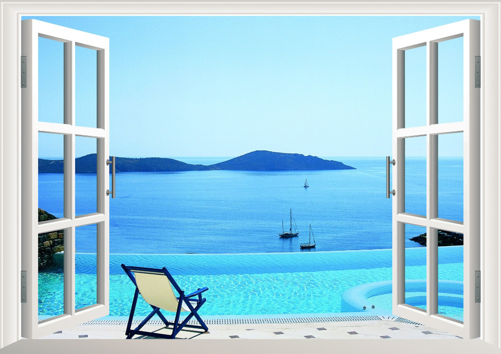 Sunshine Beach Chair Resorts Window View Removable Wall Art Sticker Vinyl Decal Mural Decor Sailing Boat Mountain In Stickers From Home Garden On