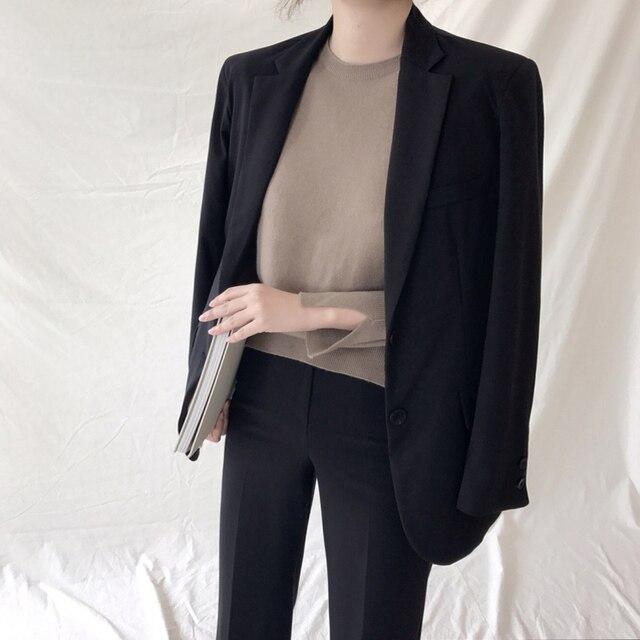 23e2329a908 Korean Dark Green Office Lady Blazer Jacket Women Fashion Notched Collar  Work Top Elegant Formal Uniform Outerwear Feminino