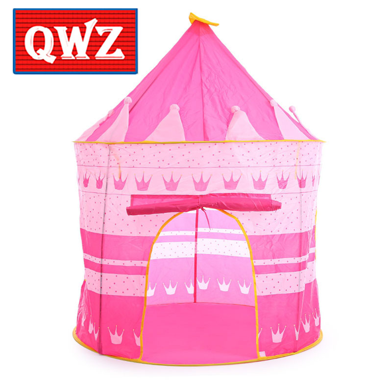 QWZ 3 Colors Kids Toy Tents Children Folding Play House Portable Outdoor Indoor Toy Tent Princess Prince Castle Gifts Toys Tent xiyuan brand luxury evening bag gold silver diamond party prom purse women wedding bridal chain handbags mini cshoulder bag
