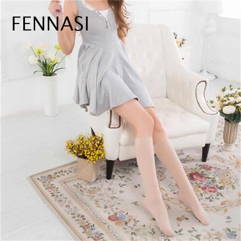 FENNASI kadın Çorap Naylon Çorap Seksi Siyah Beyaz Diz Çorap Sevimli Sıkıştırma diz üstü çorap Uzun Yüksek Elastikiyet
