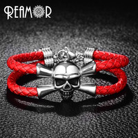 REAMOR 316L Stainless Steel Male Bracelet Pirate Skull Head Bracelet Trendy Skeleton Adjustable Braided Leather Rope