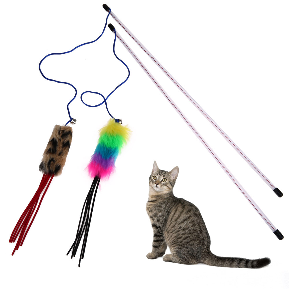 Fun Cat Toys Pets Catcher Teaser Toy Cat Stick Interactive Wire Chaser Wand Toy Pet Cat Feather Teaser Toy