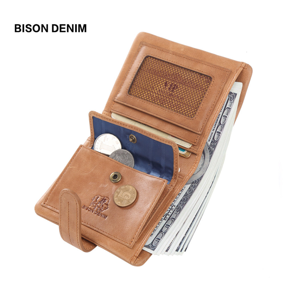 BISON DENIM Genuine Leather Wallets For Women Soft Cowskin Credit Card Holder Wallet Female Short Wallet Zipper Coin Purse W4401