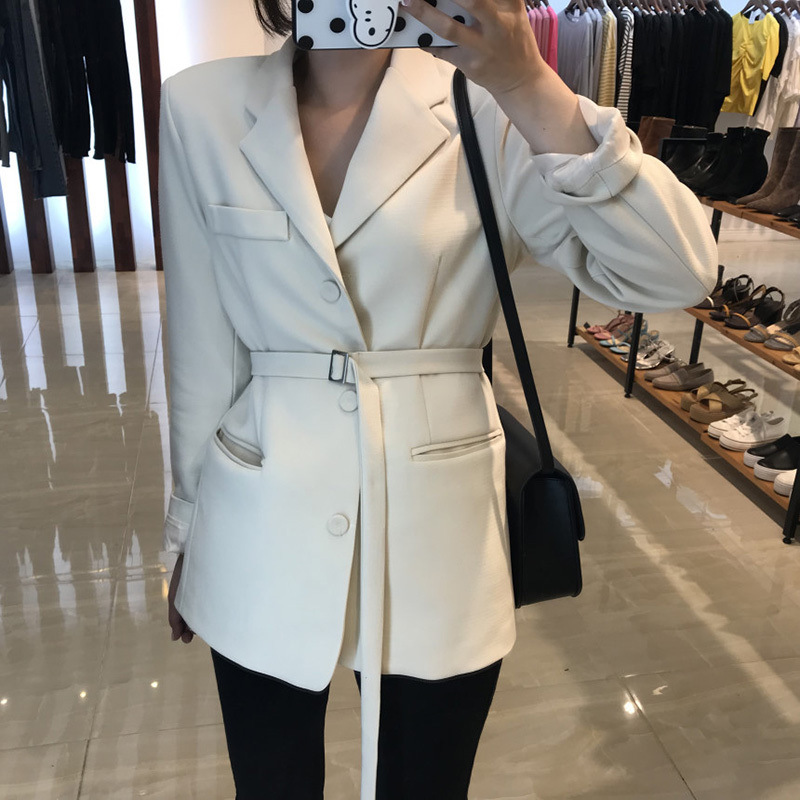 Early Spring New Style Slim Spring OL Wind Waist Of The Long Belt Black Net Red Small Suit 2019 Black Women Jackets And Coats
