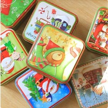 Free ship!1lot=12pc!Christmas gift biscuit boxes / Tea Caddy/Iron metal storage box/case/tin candy wedding case/pencil case(China)