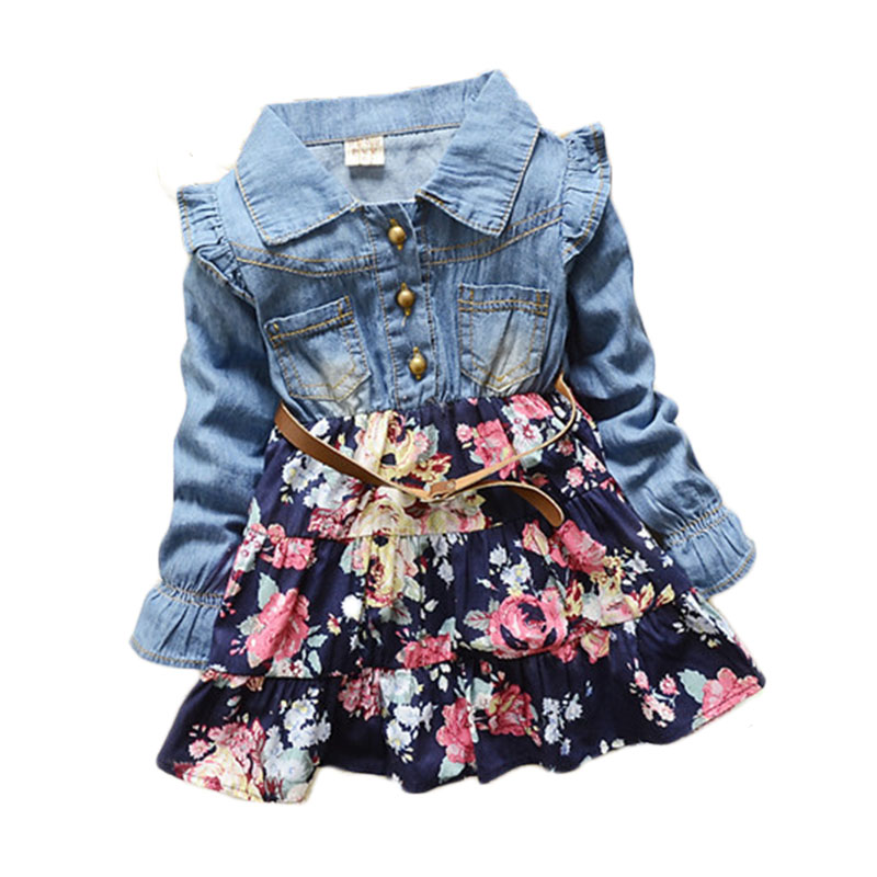 Girls clothes Polka Dot cartoon princess dress Denim floral dress summer dresses Lace Flowers Long Sleeve Kids Free Shipping