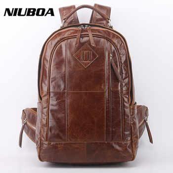 Genuine Leather Backpack Men High Quality Leather Travel Backpacks Man Vintage Big Casual School Shoulder Bags Rucksack - DISCOUNT ITEM  9% OFF All Category