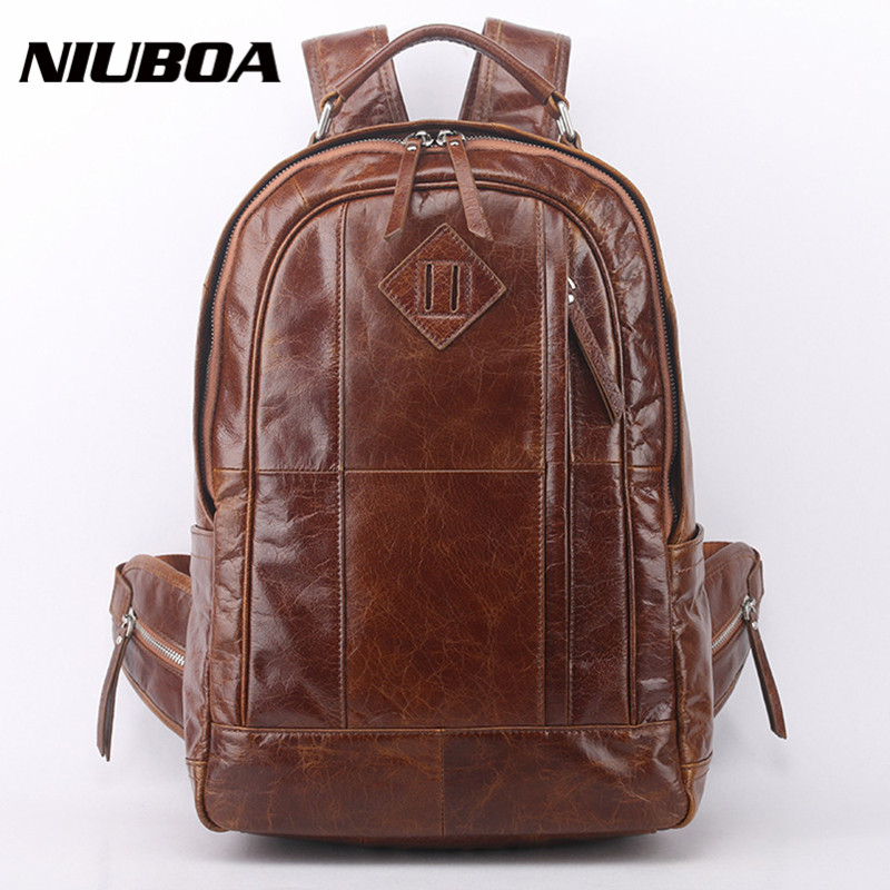 NIUBOA Genuine Leather Backpack Men High Quality Leather Travel Backpacks Man Vintage Big Casual School Shoulder Bags Rucksack swdvogan new travel backpack korean women rucksack pocket genuine leather men shoulder bags student school bag soft backpacks