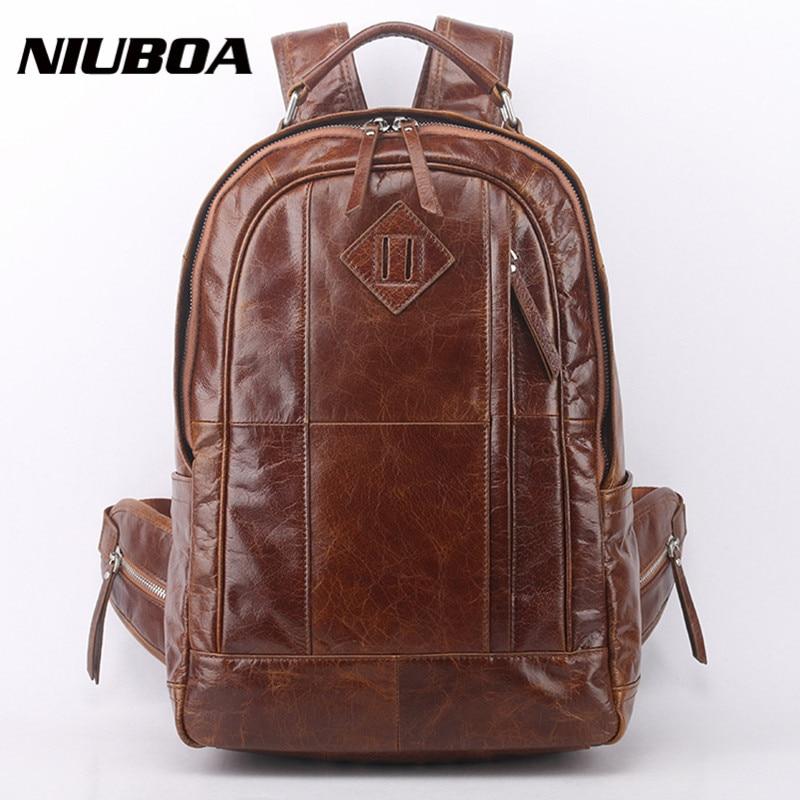 NIUBOA sac à dos en cuir véritable hommes sacs à dos de voyage en cuir de haute qualité homme Vintage grand décontracté école sacs à bandoulière sac à dos