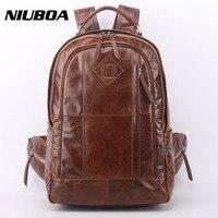 Genuine Leather Backpack Men High Quality Leather Travel Backpack Boy Vintage Big Capacity Casual School Shoulder