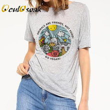 2019 New ANIMALS ARE FRIENDS Not Food Letters Print Women T-Shirt Cotton Casual Funny T Shirts For Lady Hipster Top Tee