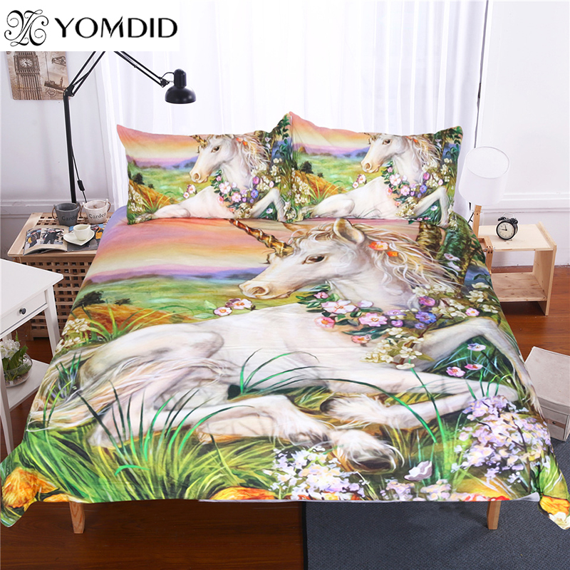 3d Unicorn Bedding Sets Queen King Size Oil Painting 3pcs