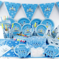 1 Set 92pcs Disposable Kids Boy Girl Birthday Decoration Set Cartoon Prince Princess Theme Birthday Party Supplies for 6 Child