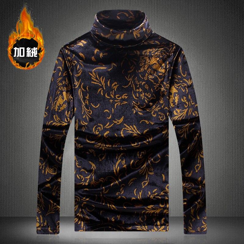 Style européen impression 3d mode de luxe col roulé à manches longues t-shirt automne et hiver 2018 nouvelle qualité épais chaud t-shirt hommes M-5XL