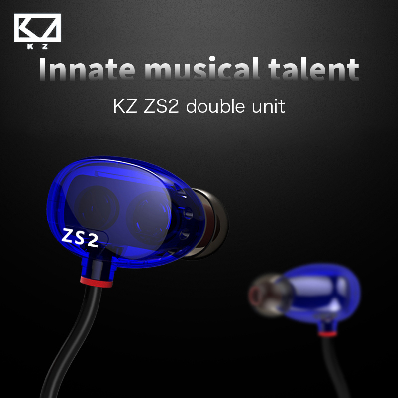 KZ ZS2 In Ear Earphone Dual Driver Hifi Headphones Original Stereo Headset Bass Earbuds Monitors Earphones Microphone For iPhone