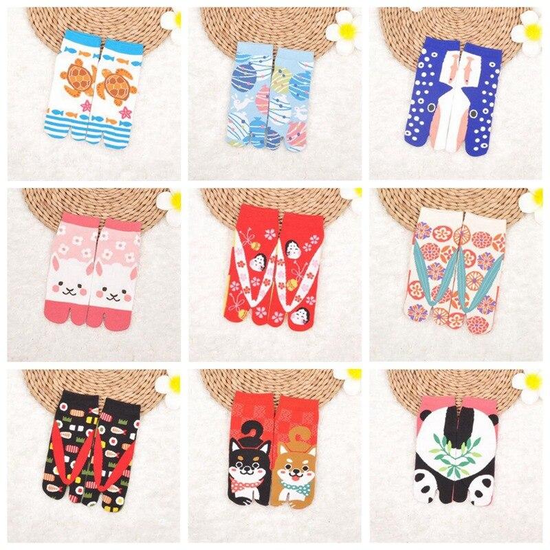 1 Pair Unisex Two Finger   Socks   Japanese Style Cotton Toe   Socks   Foot Bag Short Cotton Cocks Samurai Split Toe   Socks   AAA0598