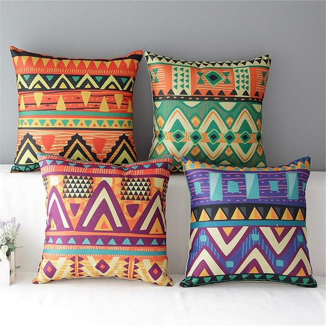 18 square colourful ethnic coussin cotton linen cushion sofa decorative throw pillow chair car home