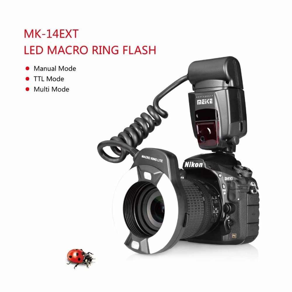Meike MK-14EXT אני-TTL מאקרו טבעת פלאש עבור ניקון D7100 D7000 D5200 D5100 D5000 D3200 D3100 D90 D300S D600 עם LED AF לסייע מנורה