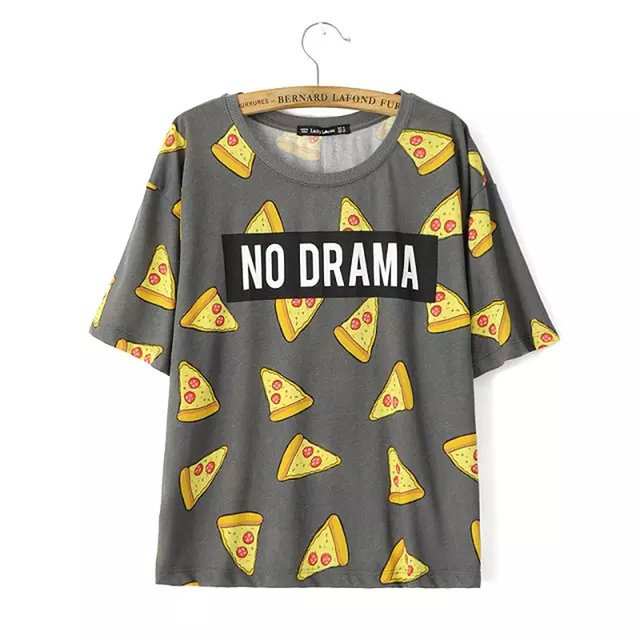 c9683d2ad Women Pizza letters print T shirt cute Cake NO DRAMA tops short sleeve  shirts casual camisas