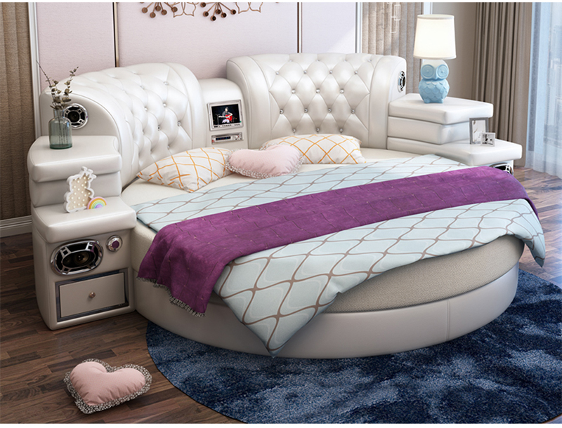 US $1410.0 |girls bedroom furniture pink big round leather bed, cheap round  beds for sale-in Bedroom Sets from Furniture on Aliexpress.com | Alibaba ...