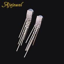 Женские серьги подвески с кисточками из латуни