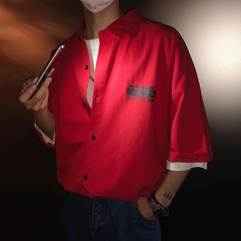 Red Back Diurnal Character Across The Shoulder Easy Short Sleeve Shirt Favourite Hot Recommend Free shipping personality